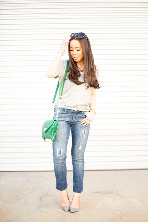 HautePinkPretty for Kohls Rock & Republic Berlin Distressed Skinny Jeans, ShoeMint Bess in Grey Suede Pointy Pump, LC Lauren Conrad San Clemente Retro Sunglasses, Sole Society Cassie Kelly Green Clutch