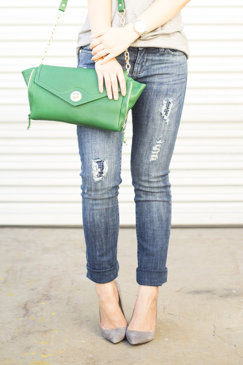 HautePinkPretty for Kohls Rock & Republic Berlin Distressed Skinny Jeans, ShoeMint Bess in Grey Suede Pointy Pump, Sole Society Cassie Kelly Green Clutch