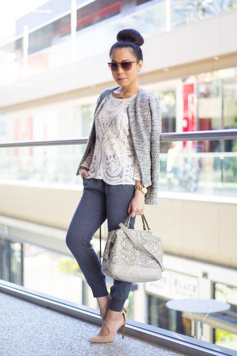 An Dyer wearing Sole Society Karenza Pumps in Nude Suede, LOFT Peplum Tweed Jacket, Express Crochet Lace Top, Michael Stars Tencel Banded Bottom Pant, BCBGMaxazria Square Aviators