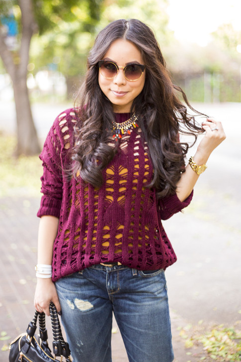 An Dyer wearing heartLoom Samara Knitted Sweater in Burgundy, Rich & Skinny The Boy & Girl Jeans