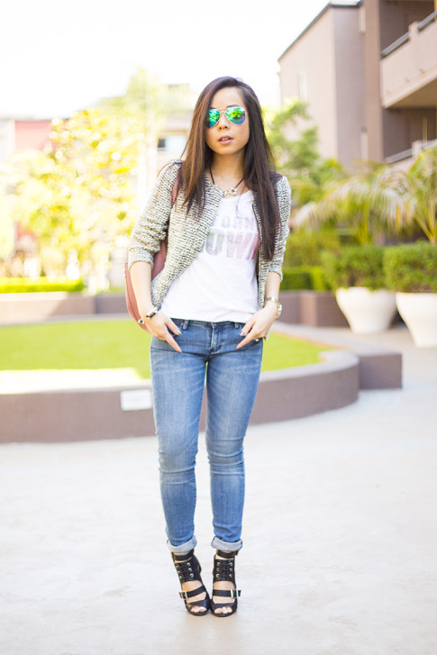 HautePinkPretty ShoeDazzle Raja, B Makowsky, AX Jeans, Loft Tweed Peplum Jacket, Lovers Friends California Grown Tank
