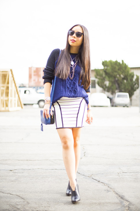 An Dyer wearing Heartloom Kendra Sweater, Bardot Skirt, Sole Society Joey, Rovi Moss Blue Mini Square Crossbody Chilli bean sunglasses
