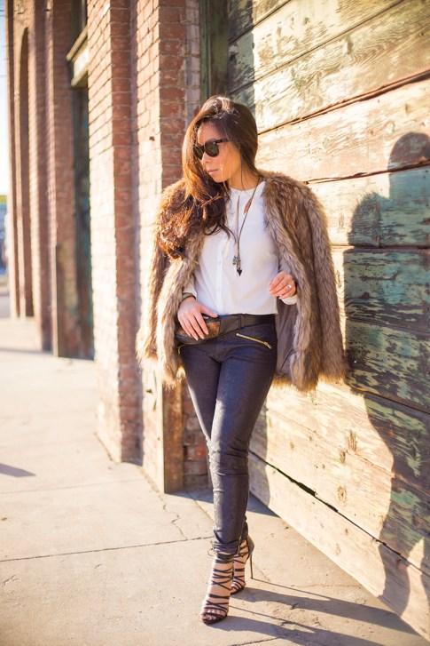 Faux Fur Fall Winter Outfit Idea