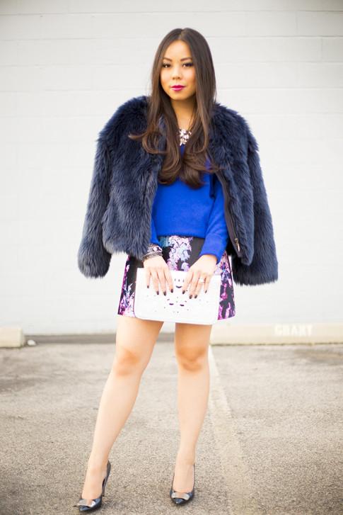 Dazzling Blue Cashmere & Faux Fur