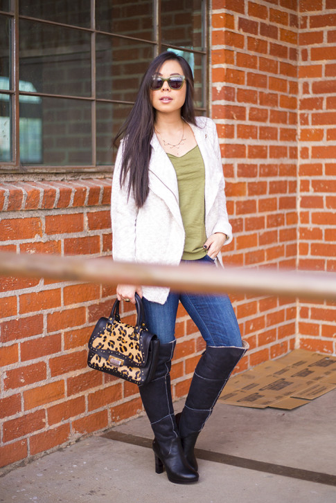 Michael Stars Angora Moto Jacket, UGG Dreaux Over The Knee Shearling Boots, Koret Tudor Demi Leopard Satchel, Citizens Jeans, chilli beans green sunglasses