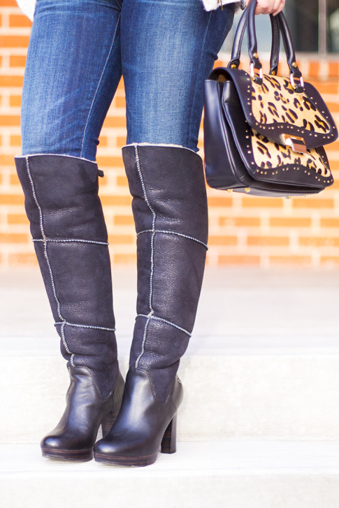 UGG Dreaux Over The Knee Shearling Boots, Koret Tudor Demi Leopard Satchel