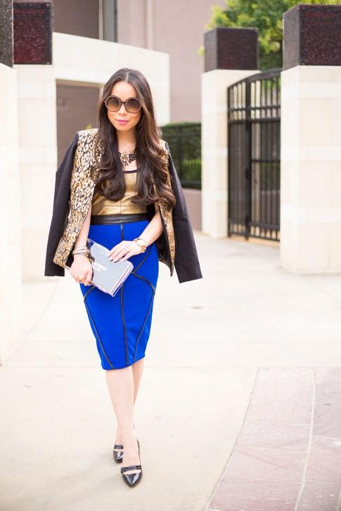 Chic Cobalt Pencil Skirt Gold Leopard Blazer