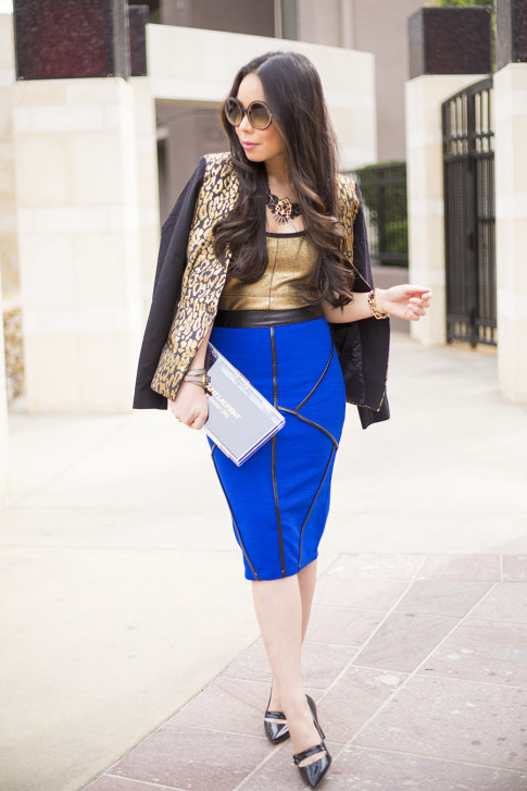 Chic Cobalt Pencil Skirt Gold Leopard Blazer
