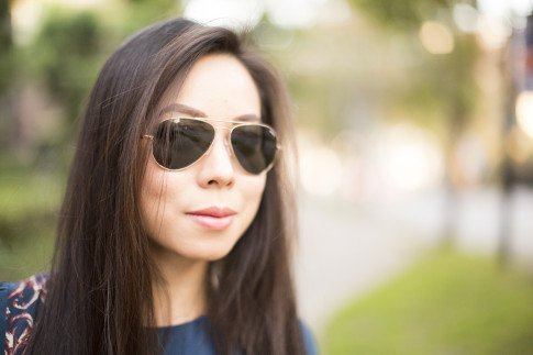 Wearing Randolph Eyewear Rose Gold Concordes