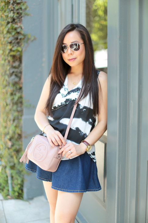 Blogger wearing Gucci Soho Disco Crossbody Nude Patent, Foster Grant Sunglasses, American Apparel Circle Skirt