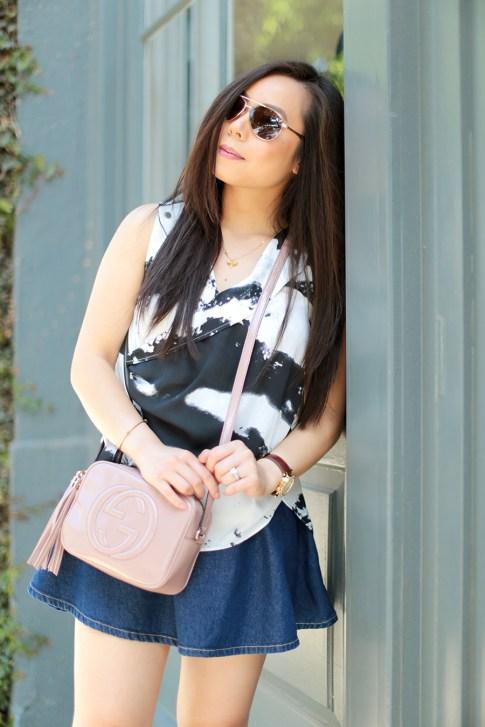 Blogger wearing Gucci Soho Disco Crossbody Nude Patent, Foster Grant Sunglasses, American Apparel Circle Skirt