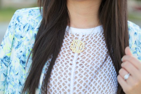 Wearing Eve's Addiction Monogram Necklace