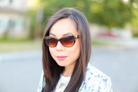 Wearing Foster Grant Cat Eye Sunglasses
