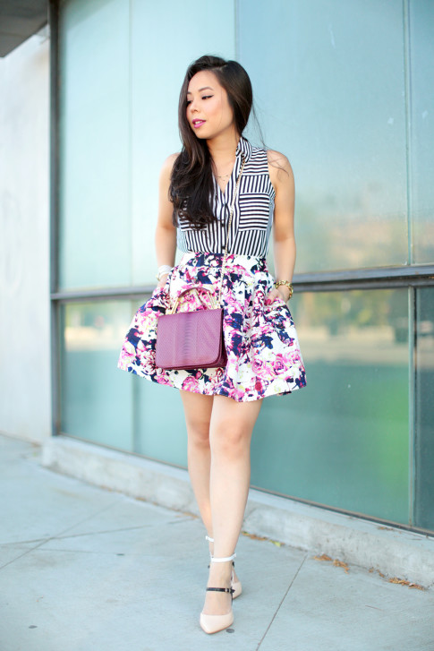 Mixing Prints Girly Street Style