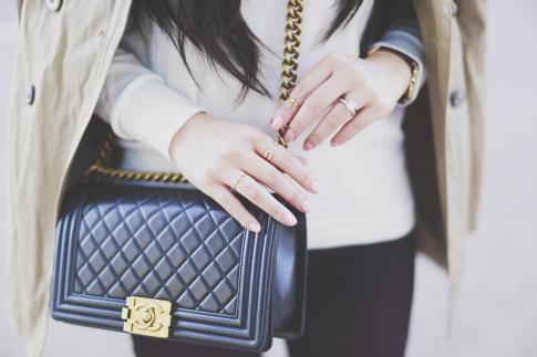 An Dyer wearing Chanel Boy Bag & Haus of Moo Rings