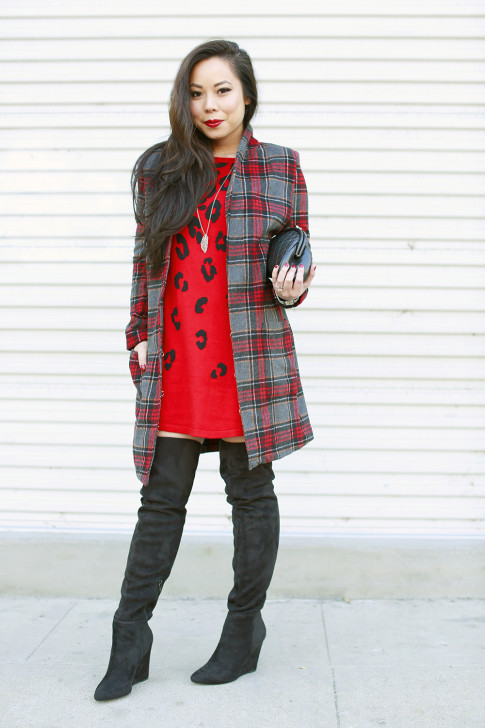 Red Plaid Coat OTK Boots Leopard Dress