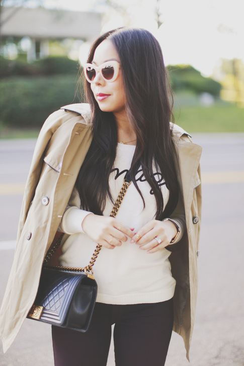 An Dyer wearing Express Trench Coat and Amaze Sweater, Chanel Boy Bag
