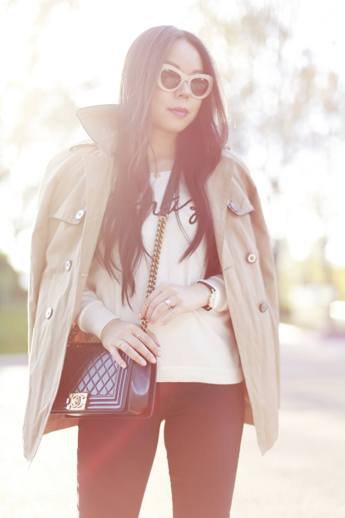 An Dyer wearing Express Trench Coat and Sweater, Chanel Boy Bag, CJ by Cookie Johnson Jeans