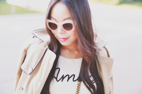 An Dyer wearing Triple Graces Sunglasses, Love you to the moon necklace