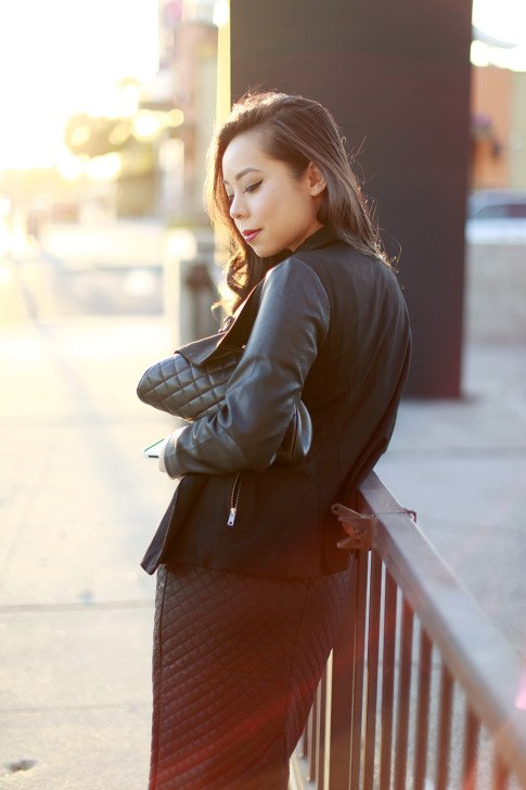 Quilted Skirt Street Style