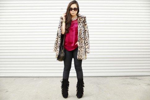 Fall Winter Style Fringe Boots Faux Fur Leopard Coat