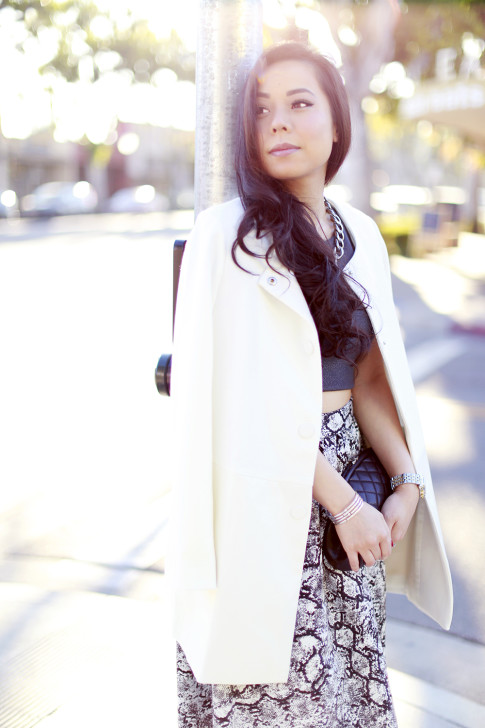 White Coat Crop Top Snakeprint Midi Skirt