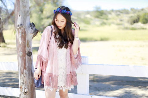 An Dyer wearing Coachella Street Style, LSpace Crochet Dress with Pink Fringe Kimono Purple Blue Flower Crown