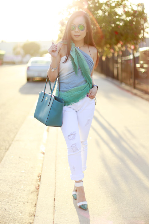 An Dyer wearing Express Scarf tied as a Top Shirt with Gucci Swing Tote James Jeans ShoeDazzle