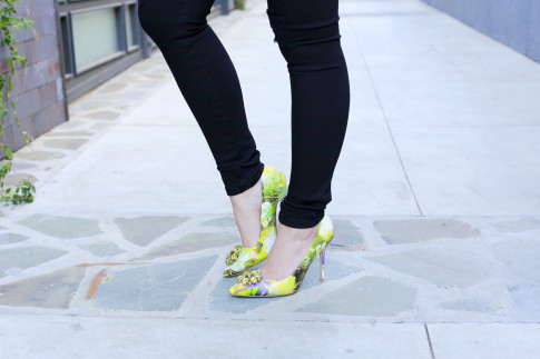 An Dyer wearing Green Floral Pumps Crystal Toe Detail