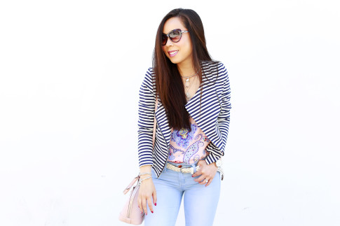 An Dyer wearing JustFab Striped Jacket