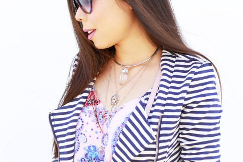 An Dyer wearing My Jewel Bar Choker Collar Necklace Clear Stone Dream Catcher