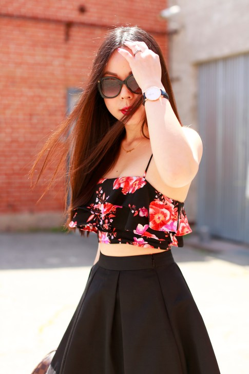 An Dyer wearing Revolve Floral Crop