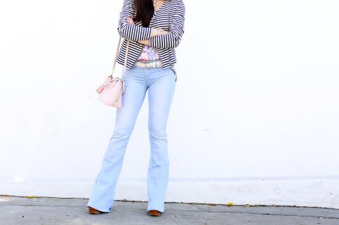 An Dyer wearing YMI Jeans Flared Light Blue