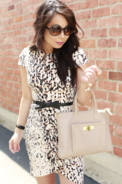 An Dyer wearing Bebe Spring Dress with Tom Ford Carrie Sunglasses, Kate Spade Bow Belt and Onna Ehrlich Bag