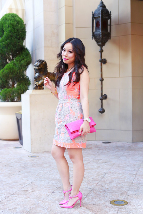 An Dyer wearing Ella Moss Dahlia Dress with Chanel Pink Fuschia Clutch