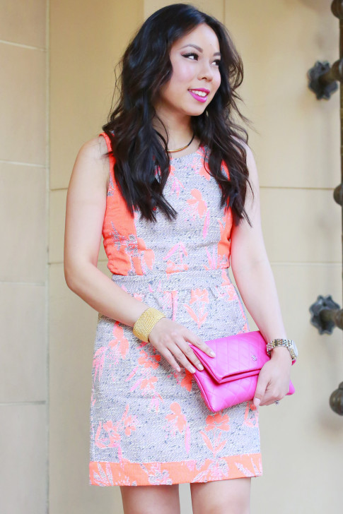 An Dyer wearing Ella Moss Dahlia Dress with Chanel Pink Fuschia Clutch, sataya jewelry cuff