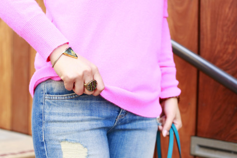 An Dyer wearing Heidi Daus ring and Lena Bernard Cuff