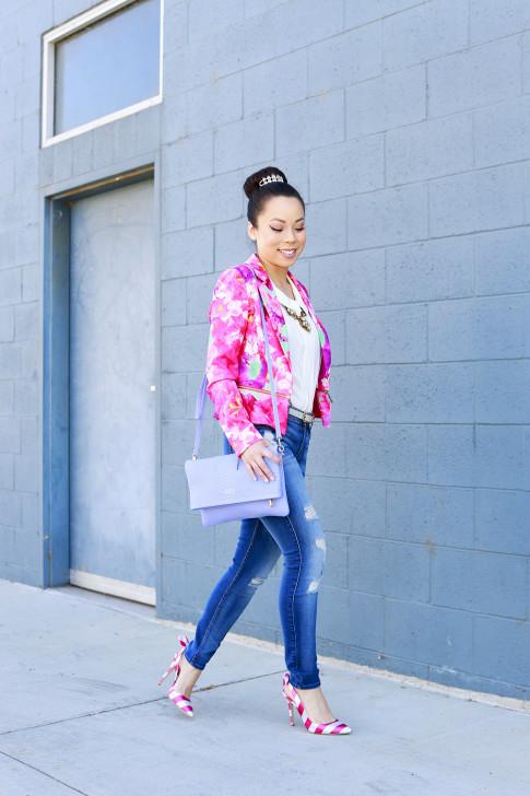 An Dyer wearing Honey & Beau Eternal Blossom Jacket 7fam jeans shoedazzle nena pumps and gigi carly clutch
