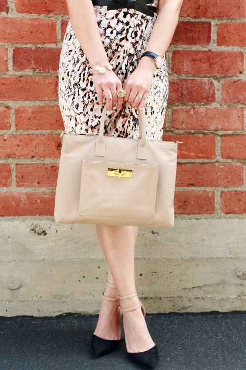 An Dyer wearing Isharya Ring with Pearl Cuff Bracelet Daniel Wellington Classic Sheffield Lady Watch, Onna Ehrlich Bag, shoedazzle pumps