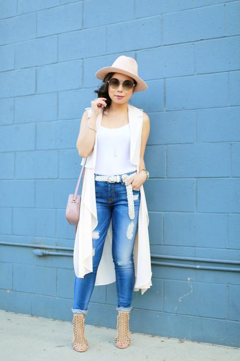 An Dyer wearing 7FAM Jeans