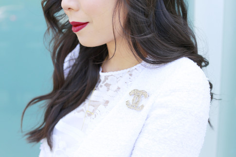 An Dyer wearing Chanel Brooch with Tween Jacket