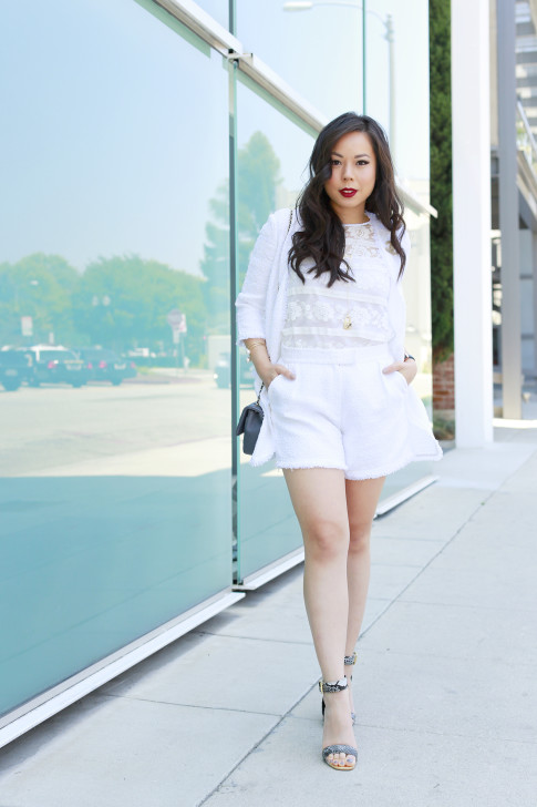 An Dyer wearing Eve by Eve's White Tweed Short Set with Lace Top and ShoeDazzle Sandals
