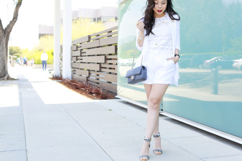 An Dyer wearing Eve by Eves White Tweed Short Set with Lace Top