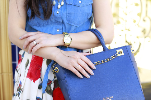 An Dyer wearing Hand Chain with St Scott London Bag