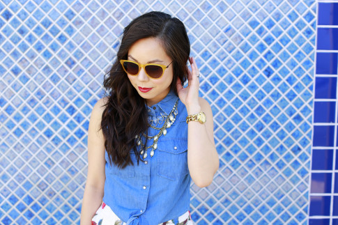 An Dyer wearing Triple Graces Yellow Sunglasses, Red Lips with Silpada