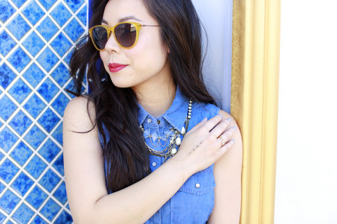 An Dyer wearing Triple Graces Yellow Sunglasses and Silpada Neckalce