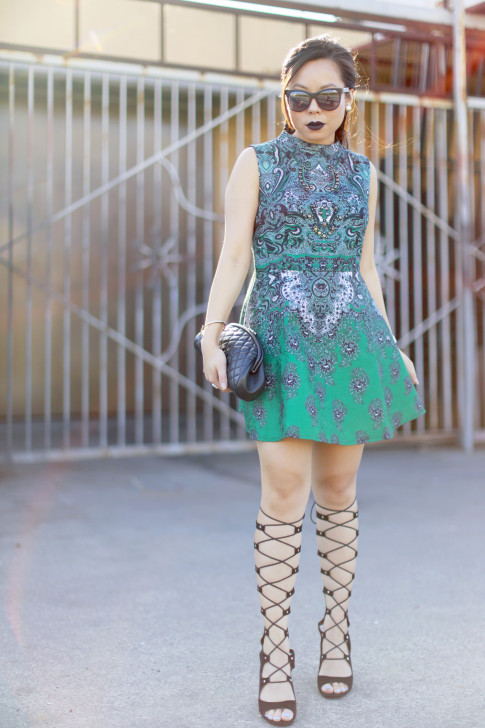 An Dyer wearing Anastasia Potion Liquid Lipstick, ChicWish Dress, ShoeDazzle Gladiator Wedge