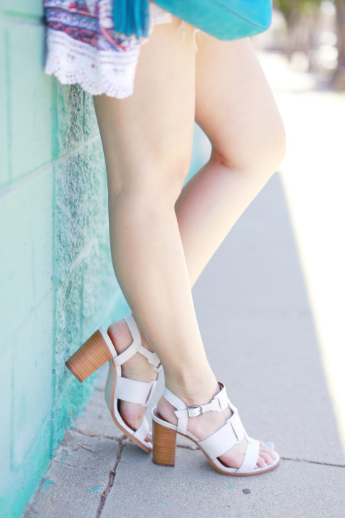 An Dyer wearing Arricci Harmony White Sandals Stacked Wood Heel