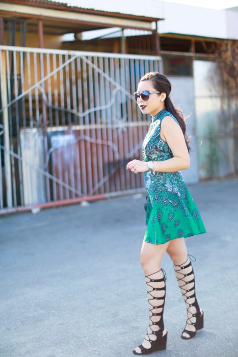 An Dyer wearing ChicWish Dress, ShoeDazzle Gladiator Wedge