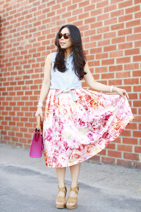 An Dyer wearing Hermes Herbag Forever 21 Sleeveless Denim Tie Knot Top with ChicWish Pink Ombre Floral Midi Skirt Ugg Dillion